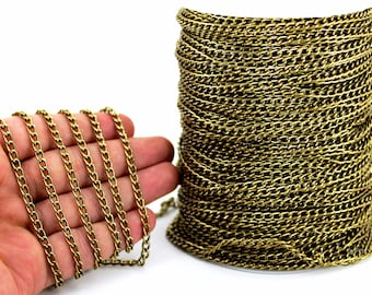 10 meters ( 33 Feet ) 5x9 mm Aluminium Chain, Wire Thickness : 1 mm, Antique Bronze Tone Color