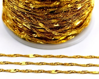 10 meters ( 33 Feet ) Wire Thickness : 0.40 mm Chain, Gold Tone, Free Yes