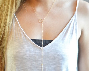 14k Gold Lariat Necklace Gold Hammered Circle & Bar Necklace Simple 14k Gold Minimalist Necklace Gold Y Necklace Lariat Simple Necklace