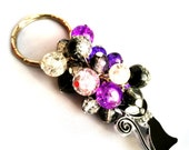 Cat Beaded Keyring Purple Black  Clear Key Chain Bag Accessory Gift for Her Cat Lover