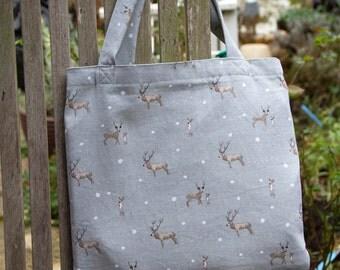 Deer Print Cotton Tote Bag