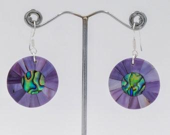 Boho Nacre earrings, lavender shells, mother pearl earrings, Romantic jewelry, Bohemian earrings, Gifts for her, sterling silver bijoux