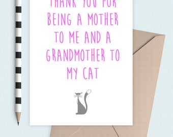 Grandmother to the cat, Mother's Day card