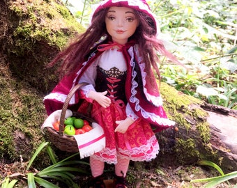 Little Red Ridding Hood, art doll, collectible doll, ooak art doll, clay doll, unique gift, home decor