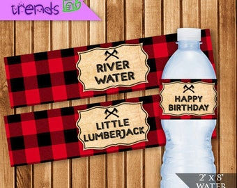 "Lumberjack Water Bottle Labels, Buffalo Plaid 2"" x 8"" Labels, Camping Birthday Party Wrappers, Little Lumberjack Printable, INSTANT DOWNLOAD"