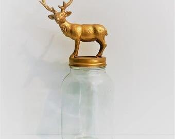 Gold Reindeer Mason Jar Topper // Home Storage Décor // Mason Jar Storage // Animal Jar Lid Decoration // Animal Mason Jars // Caribou Jar