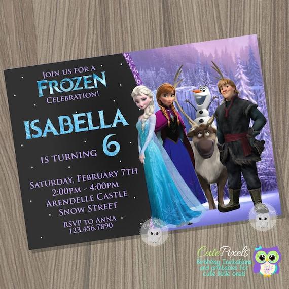 Frozen birthday invitation disney frozen frozen invitation elsa il570xn stopboris Images