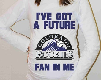 Colorado Rockies Shirt Colorado Rockies Baseball Long Sleeve Maternity Shirt Pregnancy Baby Shower
