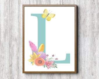 Floral Watercolor L Monogram Wall Art   Nursery / Girls Room Decor   Letter  L Poster Part 48