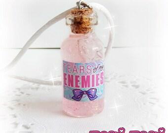 Tears Of My Enemies Kawaii Version, Bottle Necklace, Bottle Charm, Kawaii Necklace, Glass Vial Necklace, Glass Bottle Pendant, Tears Bottle
