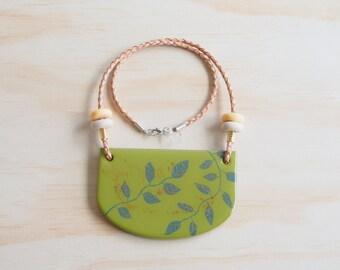 Resin Necklace | Wearable Art | Handmade | Hand Painted Greenery Vine