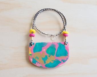 Resin Necklace | Wearable Art | Handmade | Map Pink, Green & Gold