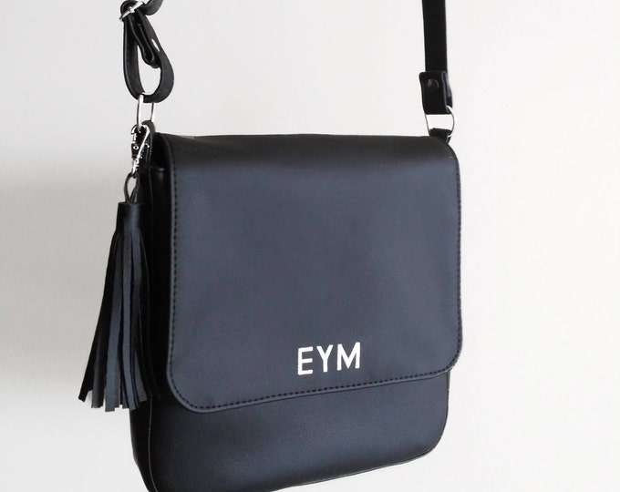 Сrossbody bag black, Monogrammed handbag, Vegan purse, Designer handbags, Vegan leather bag