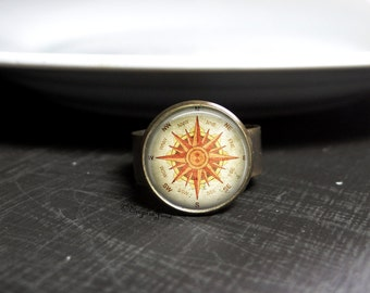 Antique Inspired Compass Ring Vintage Style Compass Ring - Jewelry Compass Vintage Ring Compass Accessory Ring Compass Jewelry Antique Ring