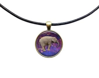 Astronomy jewelry Galaxy necklace Space Elephant pendant