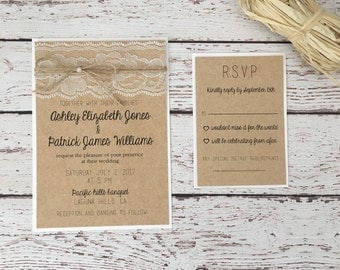 Rustic /vintage wedding invitation, rustic lace wedding invitation, twine wedding invitation, lace wedding invitation, kraft invitation