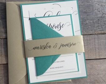 Emerald Green and Gold Wedding Invitations, Calligraphy Wedding Invitations, Modern Wedding Invitations, S012-Mariska