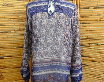 1970s Block Print Indian Cotton Blue and Deep Red Long Sleeve Blouse - Small/Medium