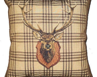 jacquard woven belgian tapestry cushion cover staghead trophy on brown tartan background - PC-4720