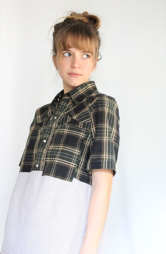 Upcycled Plaid and Striped Color Blocked Top with Pocket, Pearl Snap Henley Top, Menswear Inspired, Eco Conscious Fashion, Fashion Under 50