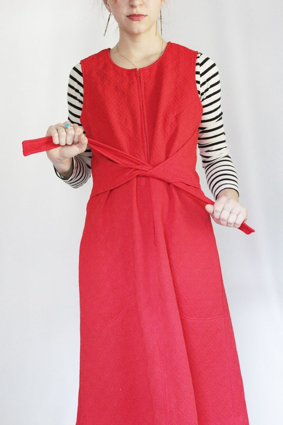 Vintage Red Zip Front Dress with Waist Tie, Midi Length Tie Dress, Mod Style Jumper Dress with Pockets, Bright Red Dress Sustainable Fashion
