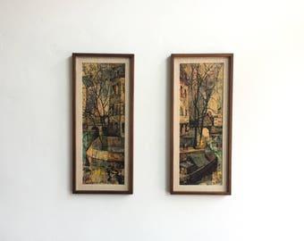 Vintage Set Of 2 Mid Century Framed Art / Seine River French Art / Paris France Impressionism Art / Wood Framed Olivier Foss Art