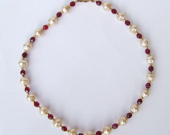 Vintage 1960's Large Pearl Necklace Facet Cut Ruby Red Glass Beads, 1960's Wire Strung Necklace, High Quality Baroque Glass Pearls