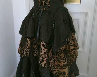 Morrighan Dress - Handmade handkerchief style gothic flocked damask maxi dress ballgown