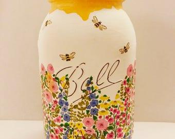 Hand made Honey pot mason jar