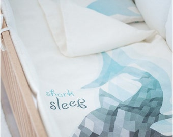 Shark print bedding - organic cot bedding - linen kids bedding - natural kids bedding - white and blue