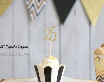 25th Birthday Decorations Cupcake Toppers, Anniversary Decor, 20th 25th 30th 35th 40th 45th 50th, Birthday Party Decor, Gold Dessert Table