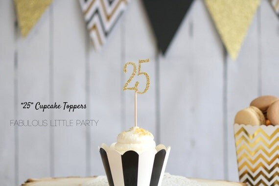 25th birthday decorations cupcake toppers anniversary decor for 25th birthday decoration