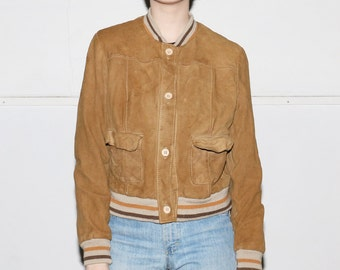 Tan Suede Bomber