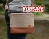 Christmas gifts Handbags Beige tweed purse For women Crossbody purse  Beige crossbody bag Black Friday  Cyber Monday