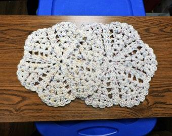 Handmade Set of 2 Ecru with Multicolored Variation Crochet Trivet Potholder
