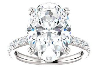 7 Carat Oval SUPERNOVA Moissanite & Diamond Engagement Ring, Blake Lively Inspired Ring, 14x10mm Oval Moissanite Rings, Anniversary Gifts