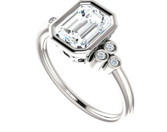1.50 ct Emerald-Cut FOREVER ONE Moissanite & Diamond Bezel Engagement Ring 14k White Gold, Moissanite Engagement Rings for Women, 8x6mm