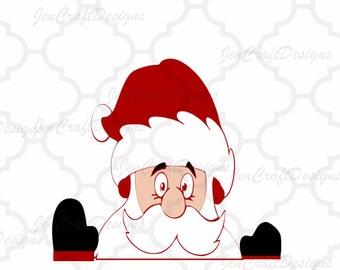 Peeping Santa SVG,EPS Png DXF, Peeking  Santa digital download files for Silhouette Cricut Vinyl Cutting Machines