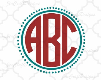 Round Monogram font SVG 4 free frames Cut Files circle font svg Instant Download SVG EPS Dxf Jpg  Silhouette Cricut Ds Alphabet Cut Files