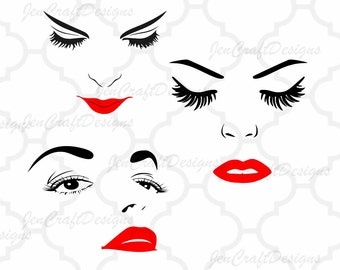 Eyelashes SVG Women Face Svg, Women Face Clipart, Face SVG, Eyes Cutting File Set inSvg, eps, dxf and PNG Format for Cricut and Silhouette