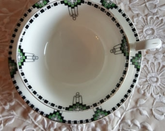 Vintage Collingwood Fine Bone China, White, black, and green art deco teacup and saucer, geometric shape, Made in England-MW