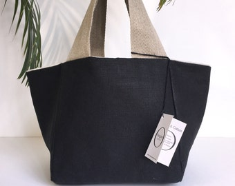 Lin bag black canvas mattresses, reversible by origine Creation