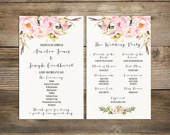 Wedding program printable, Bohemian Floral Wedding Program Boho Watercolor Flower Ceremony Program Printable digital files - PGW-30