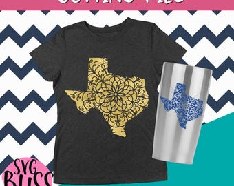 Texas SVG| State SVG| Cutting File for Cricut or Silhouette Crafters| Mandala Cut File| svg eps dxf png| Download