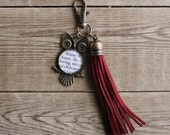Brave at Heart & Daring Red Tassel HP inspired owl zipper pull charm.  Silver or Bronze. Wizard School House colors. Fandom book keychain.