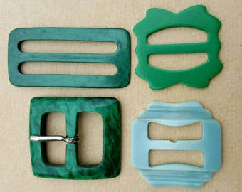 Vintage Collection Job lot of Early Plastic Lucite Belt Buckles
