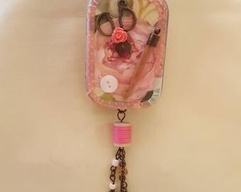 Handmade, jewelry, necklace, locket, altoids tin, needle case