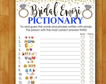 Bridal Shower Game Pictionary - EMOJI Pictionary - Royal Blue and Gold - Instant Printable Digital Download - diy Bridal Shower Printables