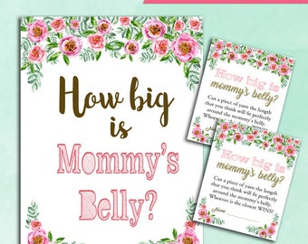 Baby Shower Game How Big is Mommy's Belly - PINK and GOLD - Printable Digital Instant Download - cards and sign Guess Mommy Baby GIRL Shower