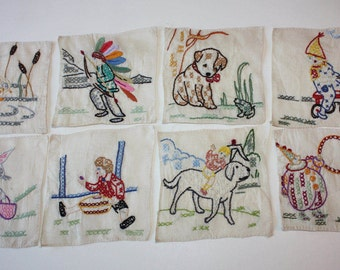 Vintage Hand-Embroidered Children's Themes Linen Coasters, 8-Piece Set